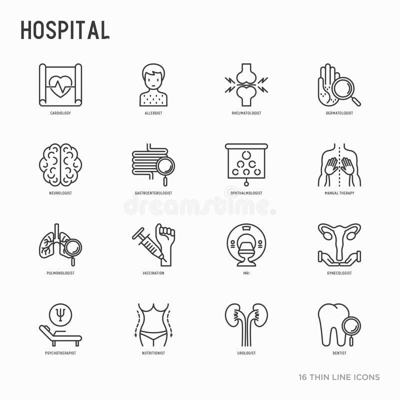 Tunn linje symbolsuppsättning för sjukhus vektor illustrationer