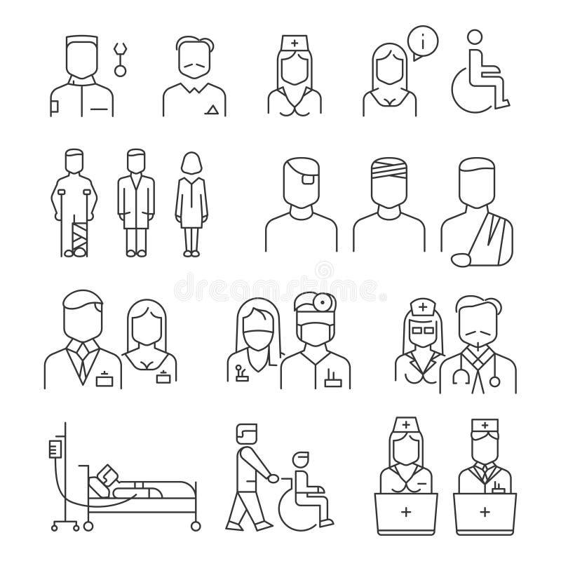 Tunn linje symbolsuppsättning för sjukhuspersonal stock illustrationer