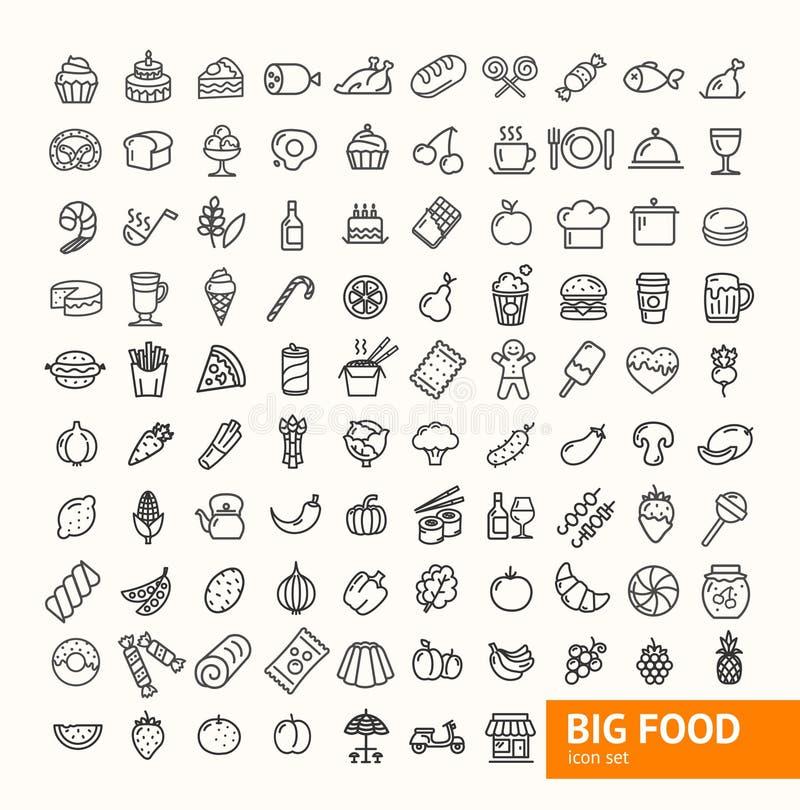 Tunn linje symbolsuppsättning för stor matsvart vektor stock illustrationer