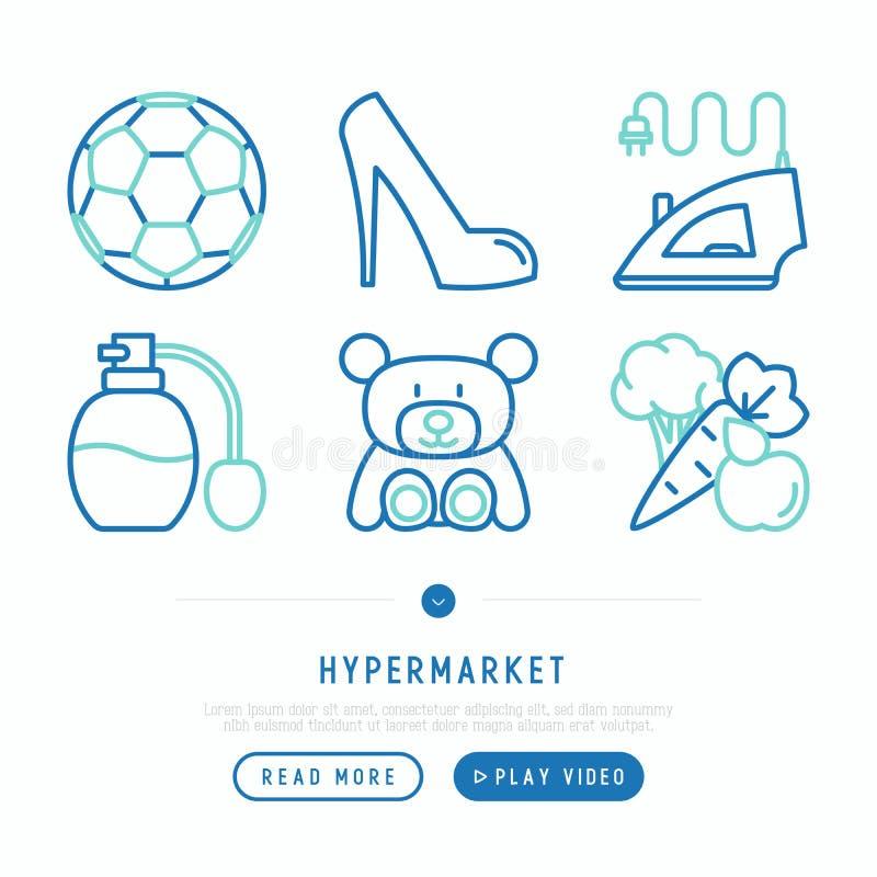 Tunn linje symbolsuppsättning för stormarknad royaltyfri illustrationer