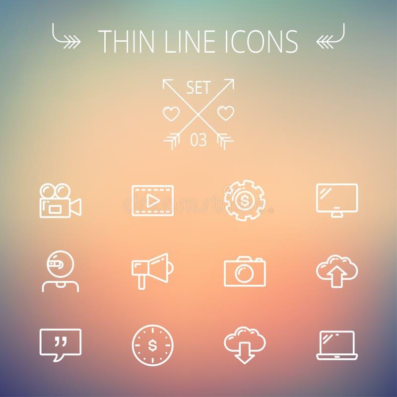 Tunn linje symbolsuppsättning för teknologi royaltyfri illustrationer