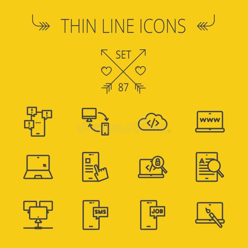 Tunn linje symbolsuppsättning för teknologi vektor illustrationer