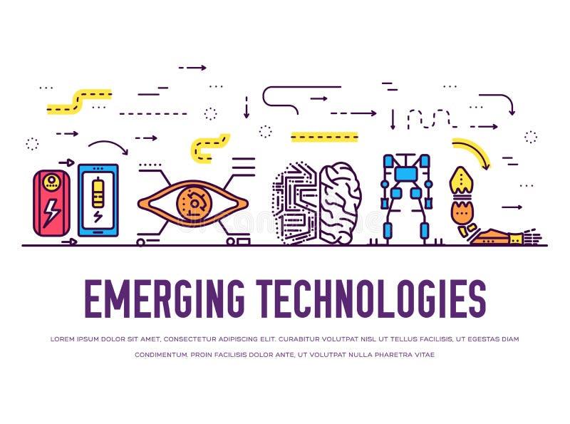 Tunn linje symbolsuppsättning för teknologi Packe för vektor för tech för konstgjord intelligens för automation royaltyfri illustrationer