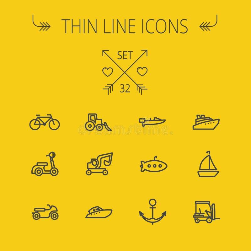 Tunn linje symbolsuppsättning för trans. stock illustrationer