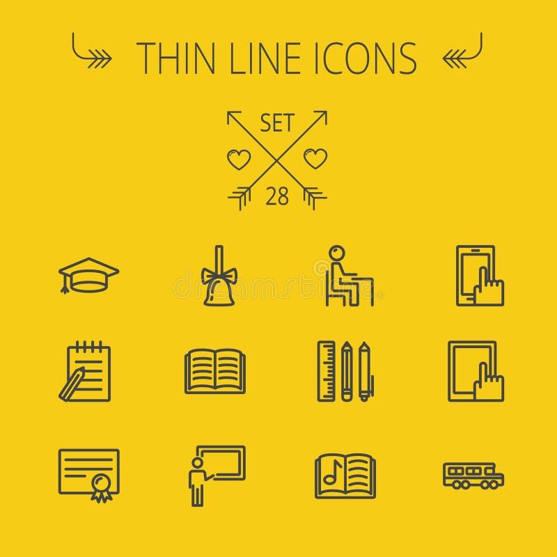 Tunn linje symbolsuppsättning för utbildning royaltyfri illustrationer