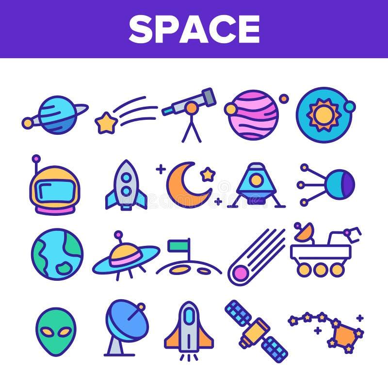 Tunn linje symbolsuppsättning för utforskning av rymdenvektor stock illustrationer