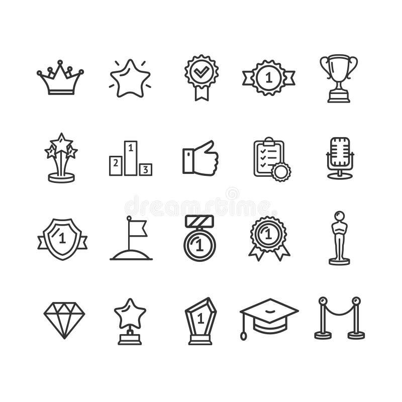 Tunn linje symbolsuppsättning för utmärkelseteckensvart vektor stock illustrationer