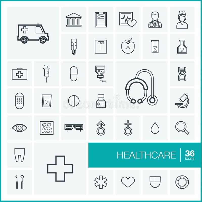 Tunn linje symbolsuppsättning för vektor Sjukvård stock illustrationer