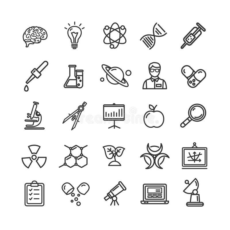 Tunn linje symbolsuppsättning för vetenskapsforskning som mikroskopet, förstoringsapparat, idé för ljus kula stock illustrationer
