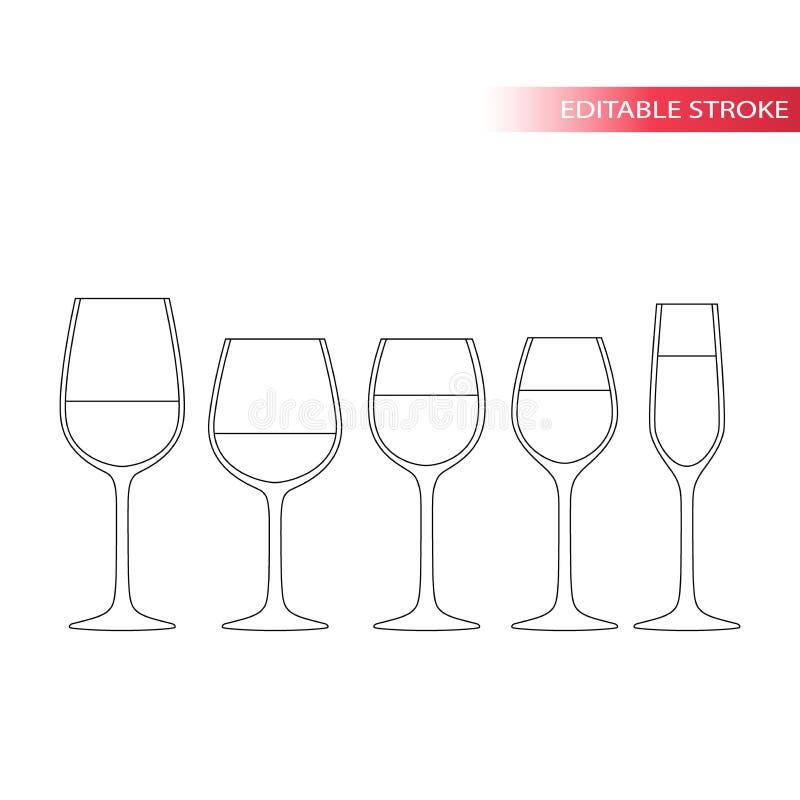 Tunn linje symbolsuppsättning för vinexponeringsglas Redigerbar slaglängd stock illustrationer