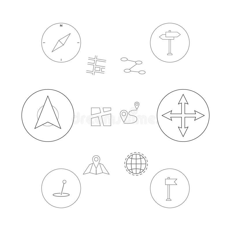 Tunn linje symbolsuppsättning Gps-geoläge, navigering och trans. Symboler för översiktspekarestift Vektorillustration för EPS 10 royaltyfri illustrationer