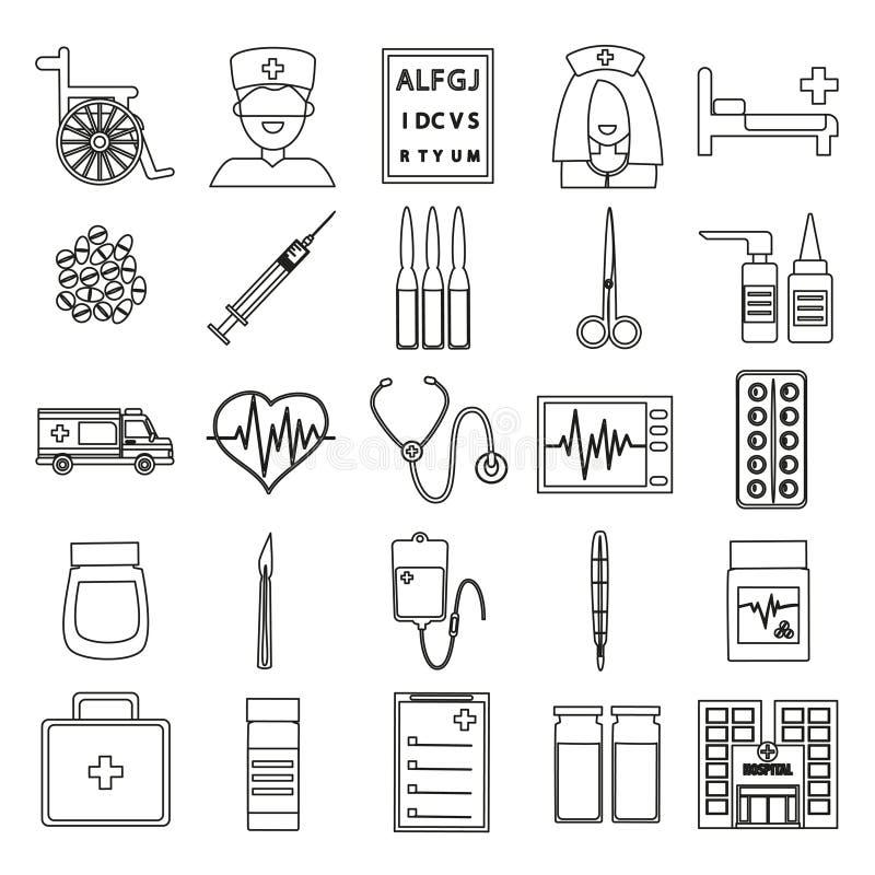 Tunn linje symbolsuppsättning - injektionsspruta, droppglass, piller, ampull vektor illustrationer