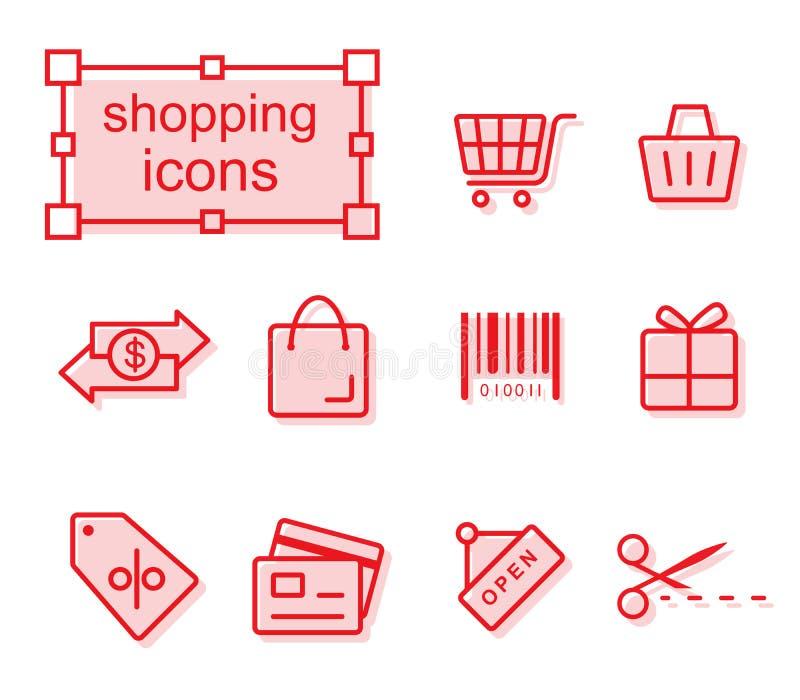 Tunn linje symbolsuppsättning som shoppar royaltyfri illustrationer