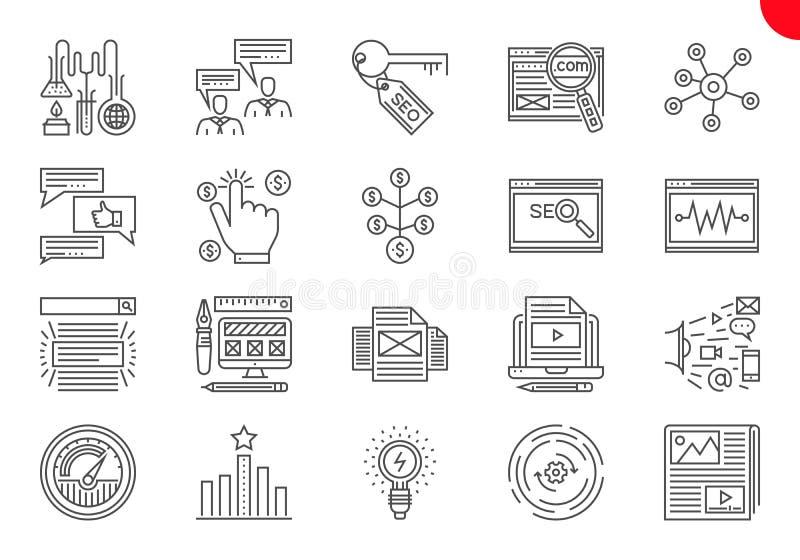 Tunn linje symbolsupps?ttning av s?kandemotorOptimization stock illustrationer