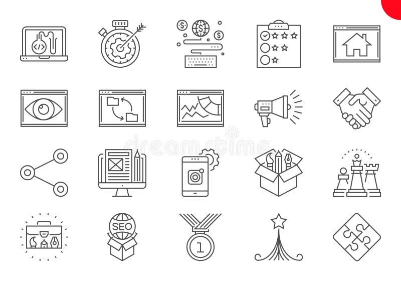 Tunn linje symbolsupps?ttning av s?kandemotorOptimization royaltyfri illustrationer