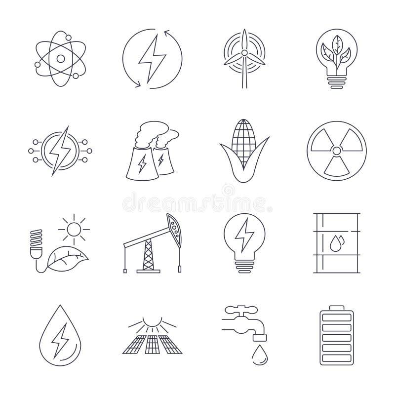 Tunn linje symbolsupps?ttning Symboler f?r f?rnybara energik?llor, gr?n teknologi royaltyfri illustrationer