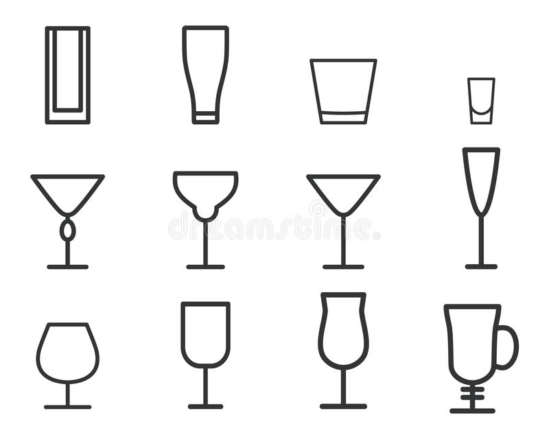 Tunn linje symbolsymbol för dryckvektor coctailar vektor illustrationer