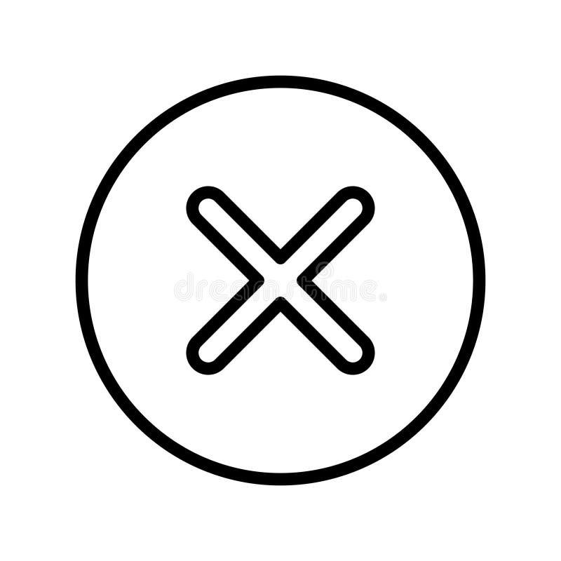 Tunn linje vektorsymbol för annullering vektor illustrationer