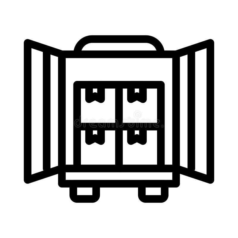 Tunn linje vektorsymbol för behållare stock illustrationer