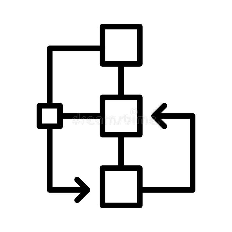 Tunn linje linje vektorsymbol för flödesdiagram stock illustrationer