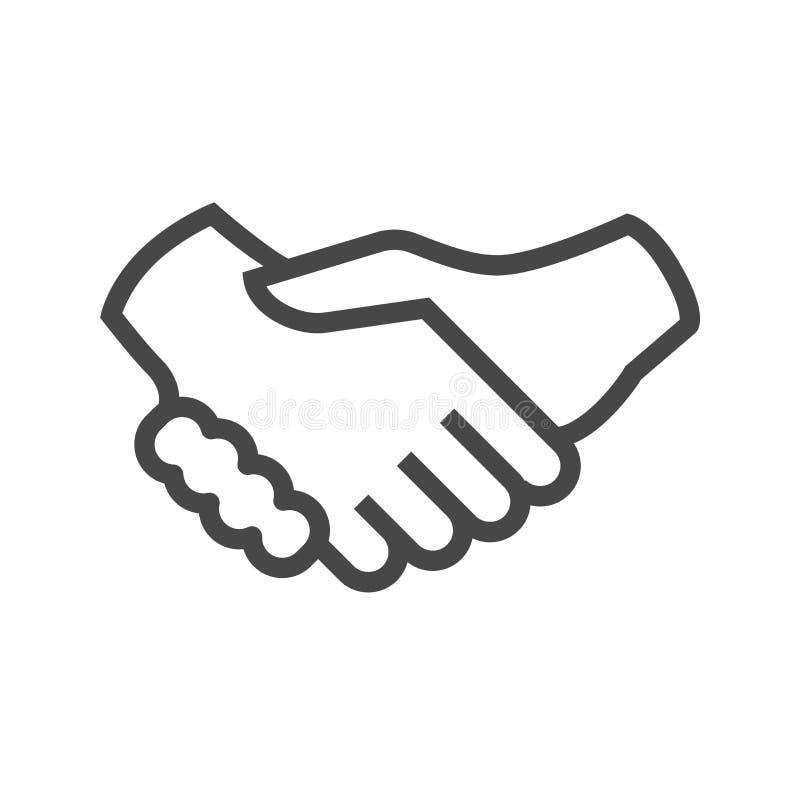 Tunn linje vektorsymbol för handskakning stock illustrationer