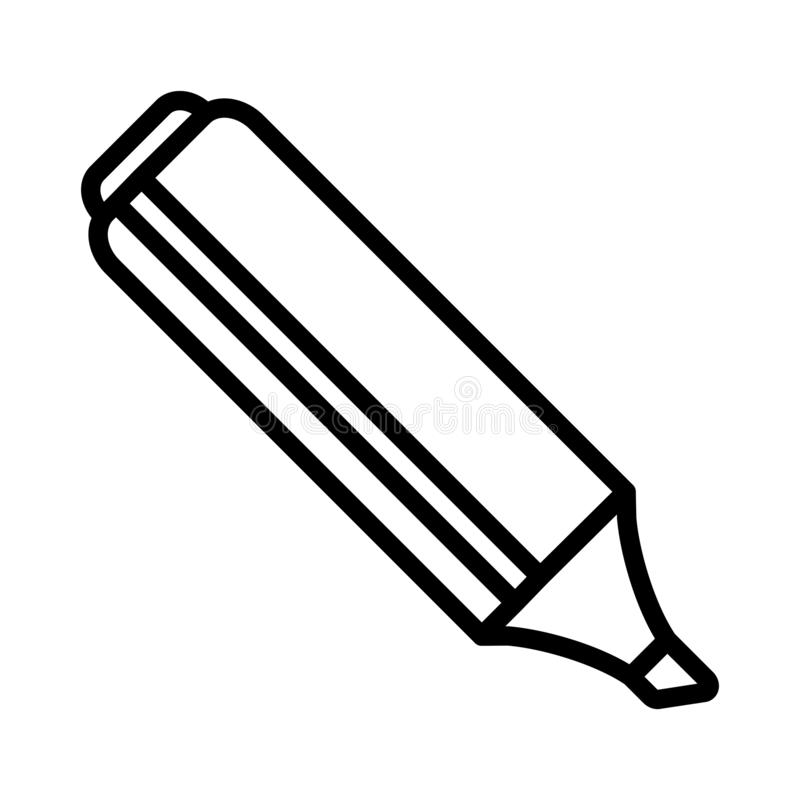 Tunn linje vektorsymbol för Highlighter royaltyfri illustrationer