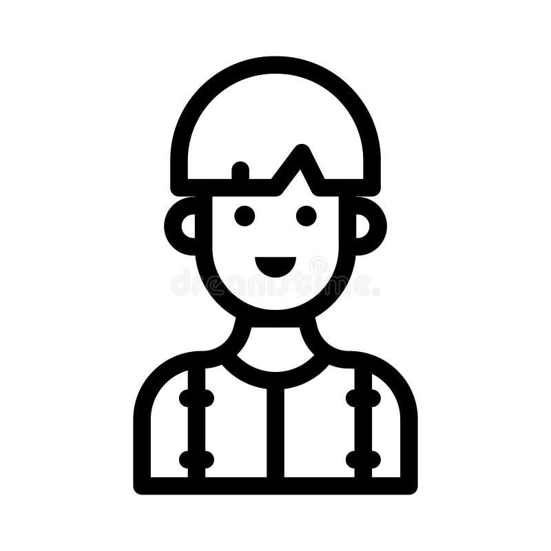 Tunn linje vektorsymbol för pojke stock illustrationer