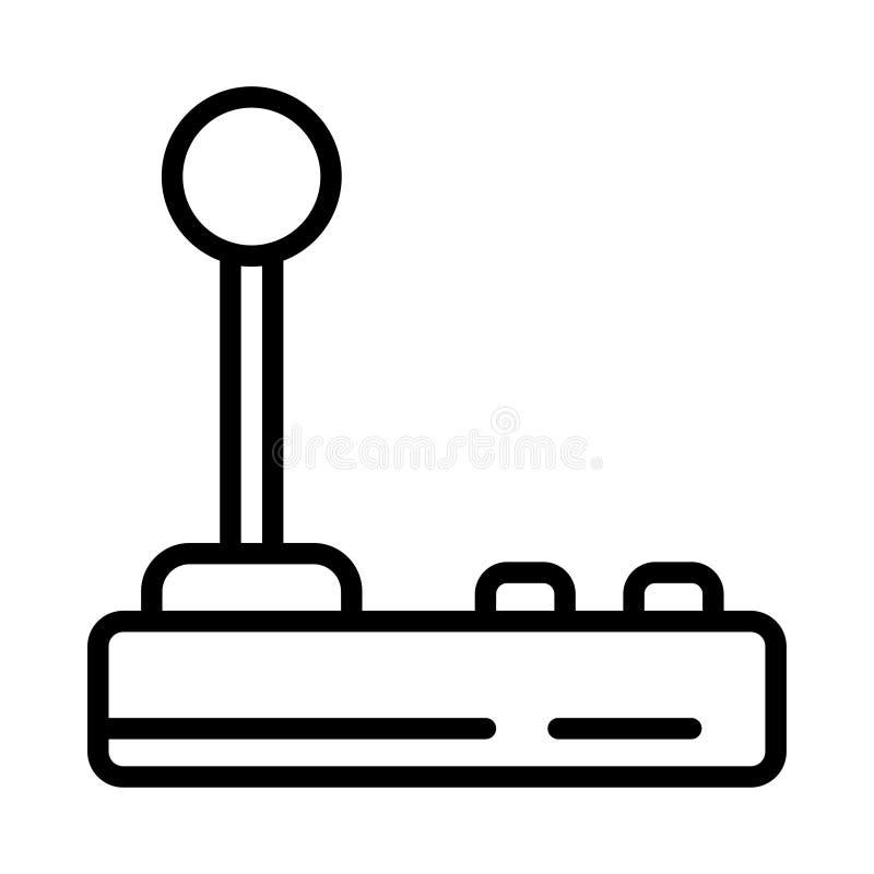 Tunn linje vektorsymbol för styrspak royaltyfri illustrationer