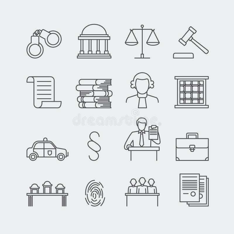 Tunn linje vektorsymboler för lag och för rättvisa vektor illustrationer
