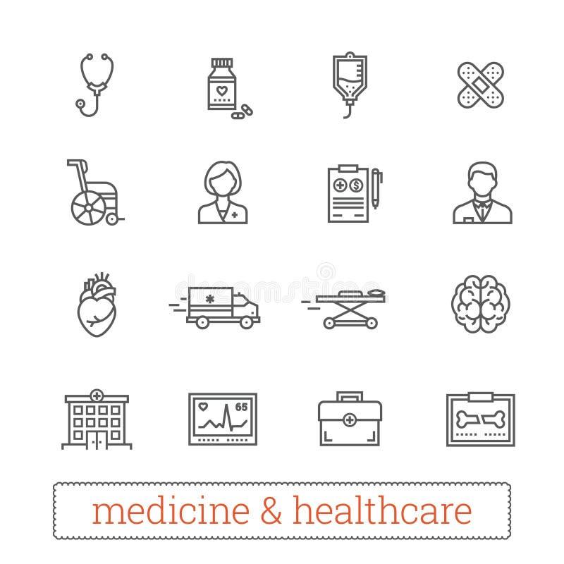 Tunn linje vektorsymboler för medicin: medicinsk service, hälsovårdhjälpmedel, diagnostisk utrustning och reanimationbehandling vektor illustrationer