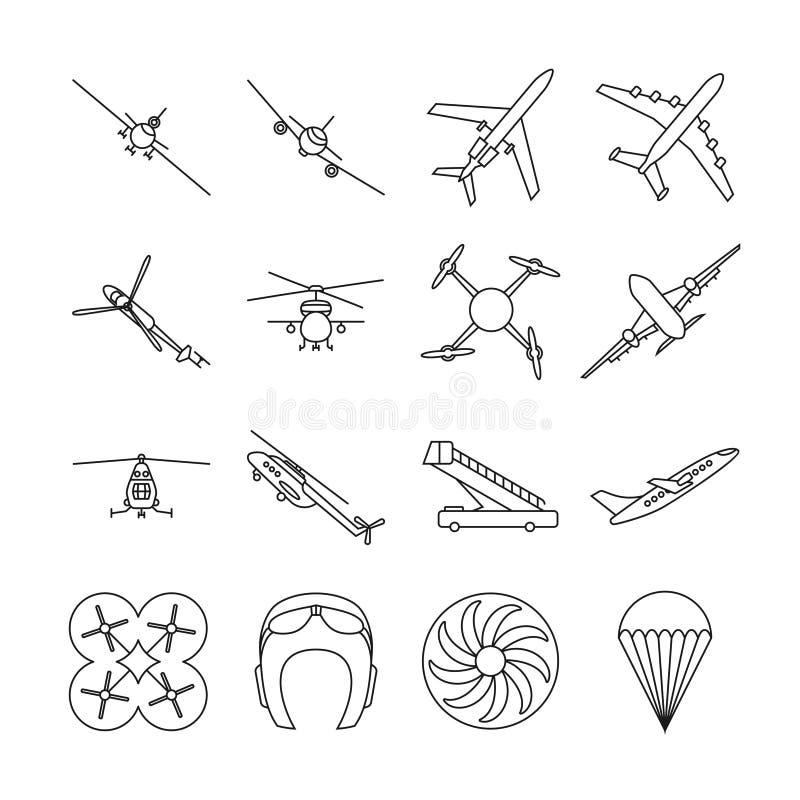 Tunn linje vektorsymbolsuppsättning för flyg royaltyfri illustrationer
