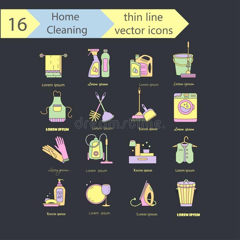 Tunn linje vektorsymbolsuppsättning för huslokalvårdfärg För företag tvätterier och service för torra rengöringsmedel vektor illustrationer