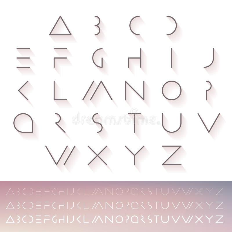 Tunn minsta futuristisk stilsort abc-alfabetet letters det mekaniska setschemat Hipsterstilsort Linjära geometriska latinska boks royaltyfri illustrationer