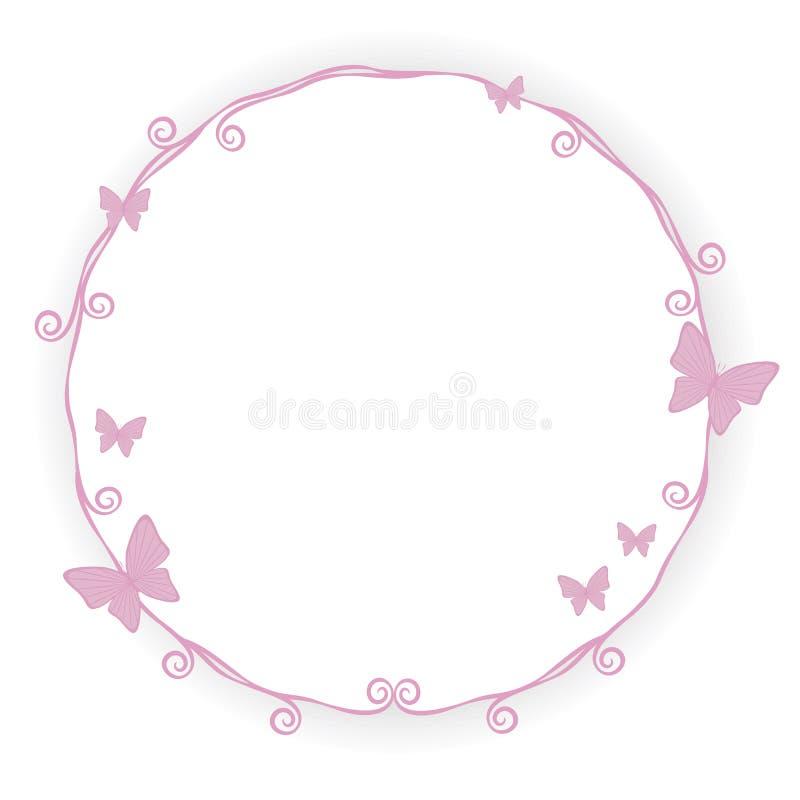 Tunn rosa skönhet för slaglängden för prinsessagränsramen med liten rosa fjärilskrullning röra sig i spiral den gulliga enkla geo stock illustrationer