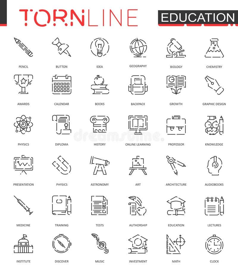 Tunn sönderriven linje rengöringsduksymbolsuppsättning för skolutbildning Översikt rusad slaglängdsymbolsdesign vektor illustrationer