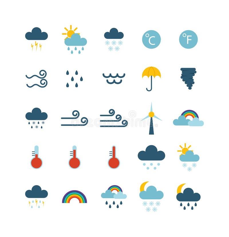 Tunn symbolsuppsättning för väder vektor illustrationer