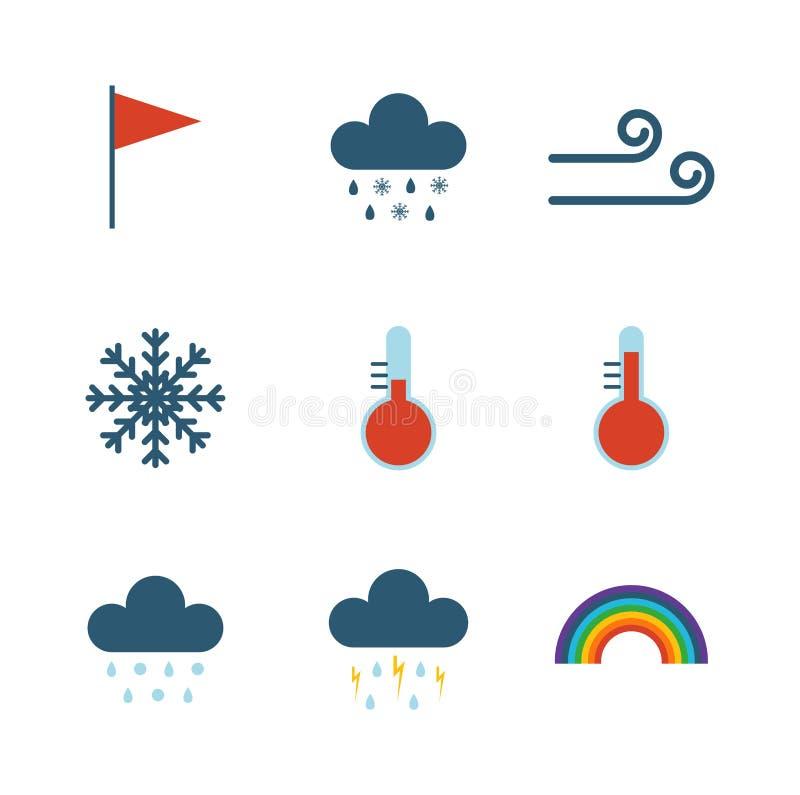 Tunn symbolsuppsättning för väder royaltyfri illustrationer
