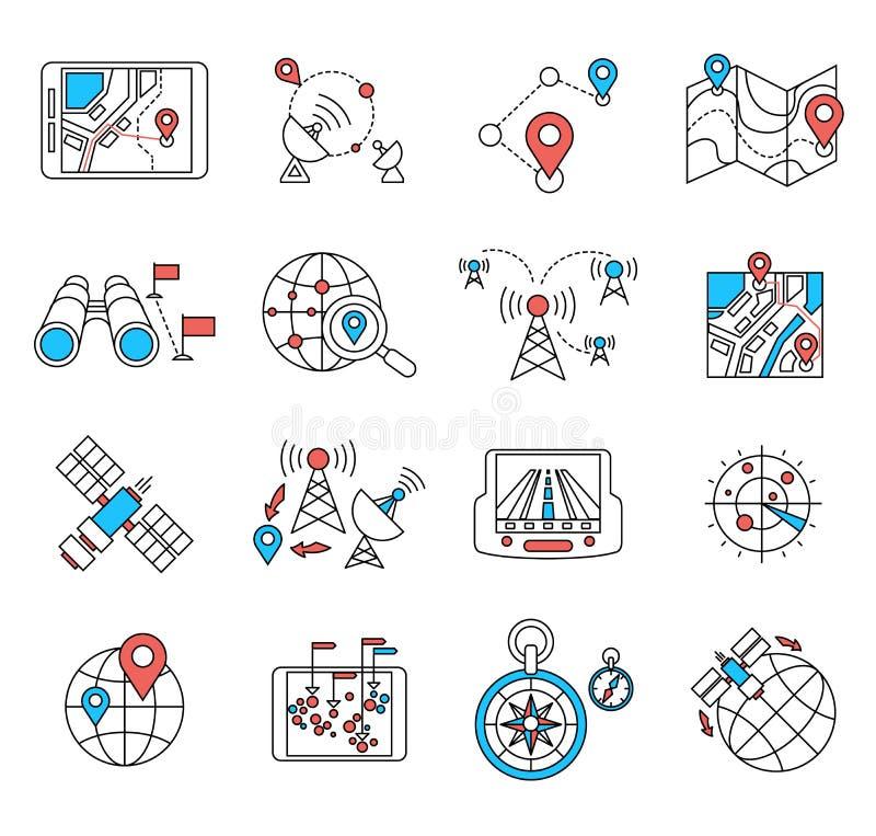 Tunna lägenhetlinjer för navigering och för geolocation royaltyfri illustrationer