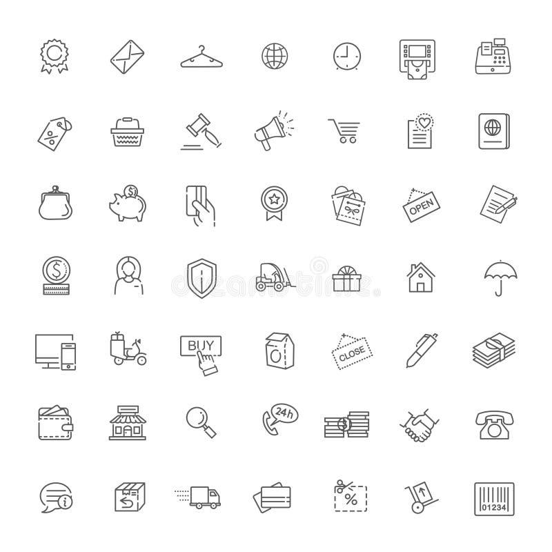 Tunna linjer rengöringsduksymboler ställde in - E-komrets som shoppar royaltyfri illustrationer
