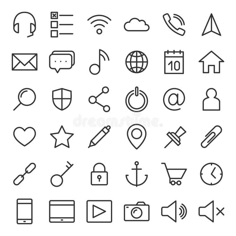 Tunna linjer rengöringsduksymboler ställde in för mobila apps och websites royaltyfri illustrationer