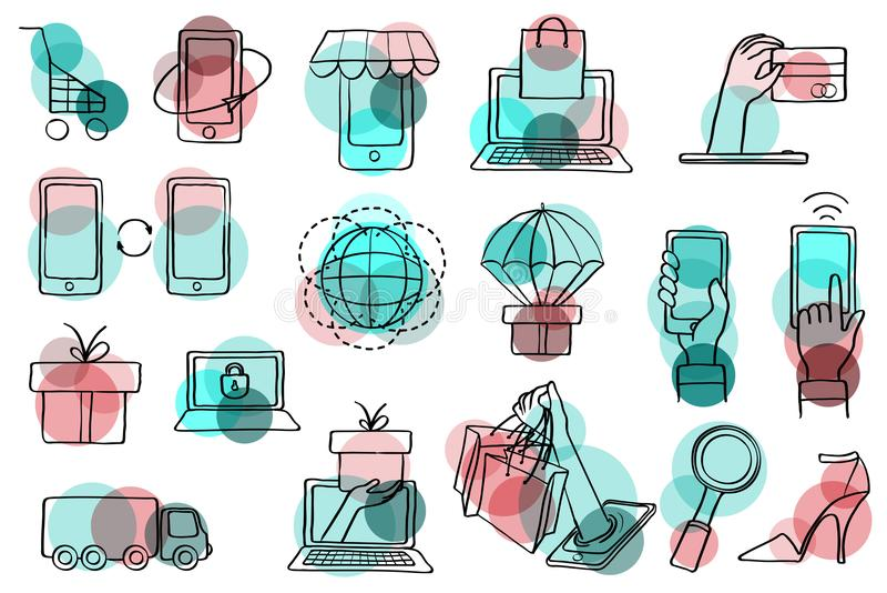 Tunna linjer rengöringsduksymbolsuppsättning för e-kommers stock illustrationer