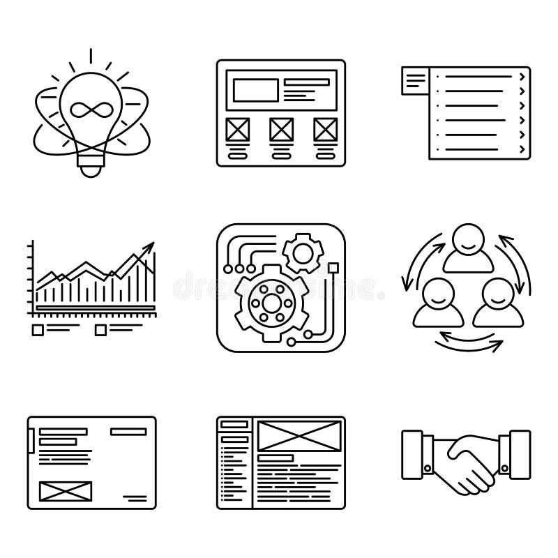 Tunna linjer symbolsuppsättning av utvecklingsprocessen, att skapa för produkt och befordranhjälpmedel, websitenätverk, optimizat stock illustrationer