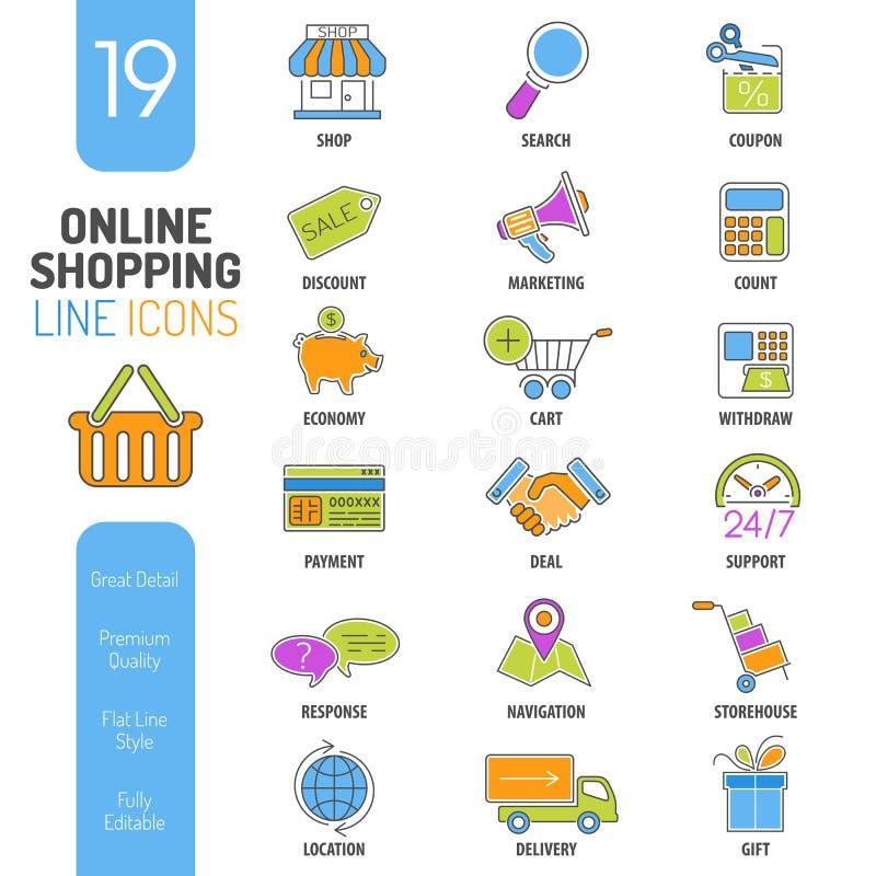 Tunna linjer uppsättning för online-shopping för färgrengöringsduksymbol stock illustrationer