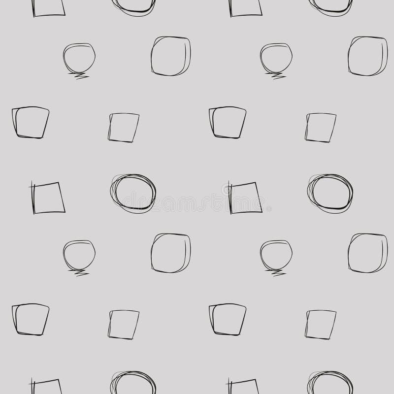 Tunna svarta slaglängder cirklar fyrkantkomiker som drar linjer beståndsdelar vid den enkla geometriska sömlösa modellen för hand stock illustrationer