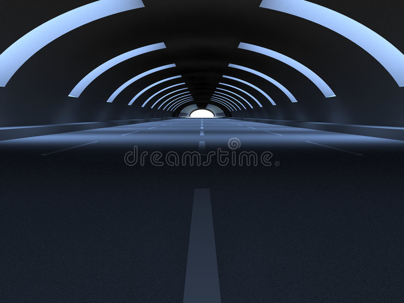 Tunnel. 3D Illustration. Though the Tunnel