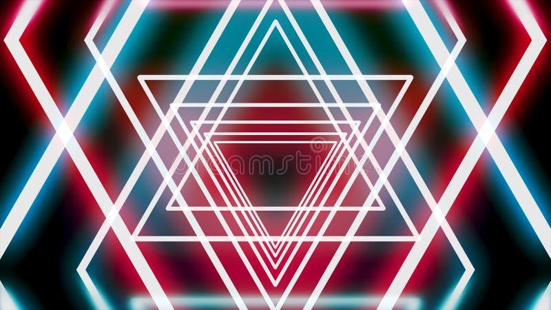 Tunnel abstrait des triangles au néon, étoiles en mouvement de David sur le fond noir, boucle sans couture animation Rougeoyer ro illustration de vecteur