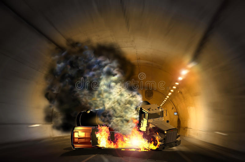 Tunnel accident royalty free stock photo