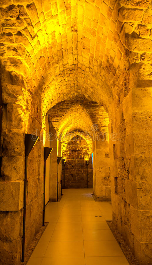 Tunnel in Acre Citadel - Israel royalty free stock images