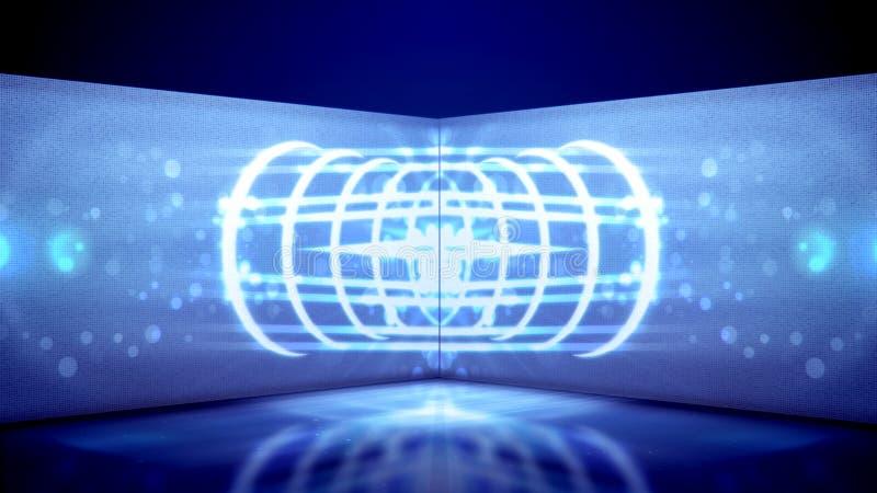 Tunnel al neon con le linee ed i punti figurati royalty illustrazione gratis