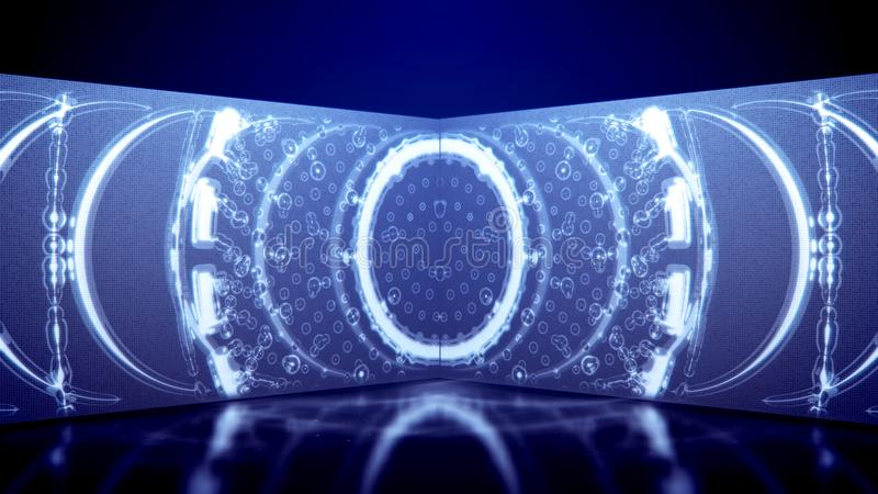Tunnel al neon con una struttura rotonda della griglia illustrazione vettoriale